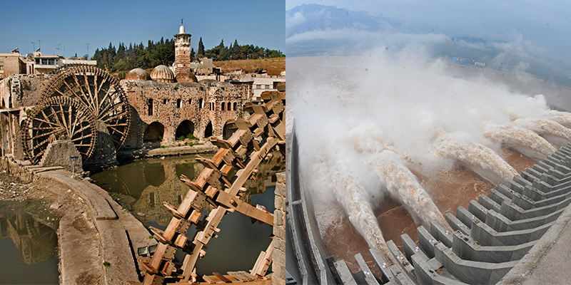 The norias, early hydropowered machines, were designed during the Byzantine era. Some still remain in Hama, Syria (on the left).