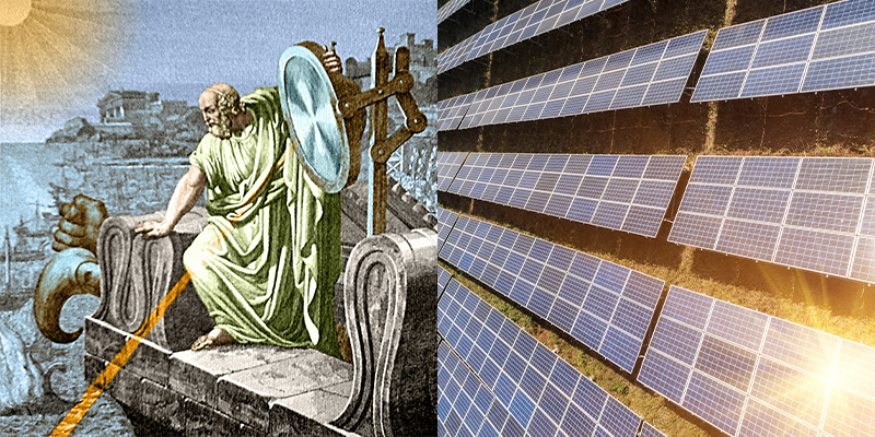 In ancient Greece, an invention called Archimedes' death ray used solar power for a devious cause: focusing sunlight on ships, causing them to burst into flames.