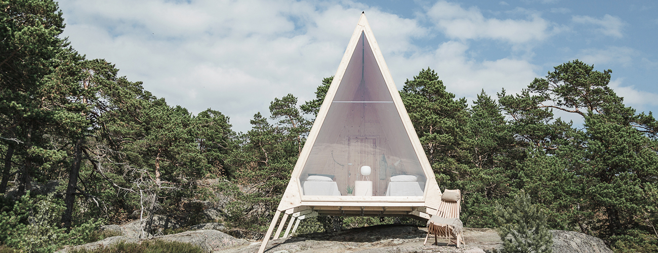 the Nolla cabin has been built from sustainable materials and is designed for a simple lifestyle with minimal to no emissions