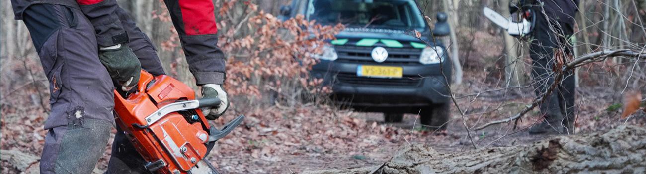 Zijaanzicht van werken in het bos en een auto van Staatsbosbeheer die geparkeerd staat in het bos