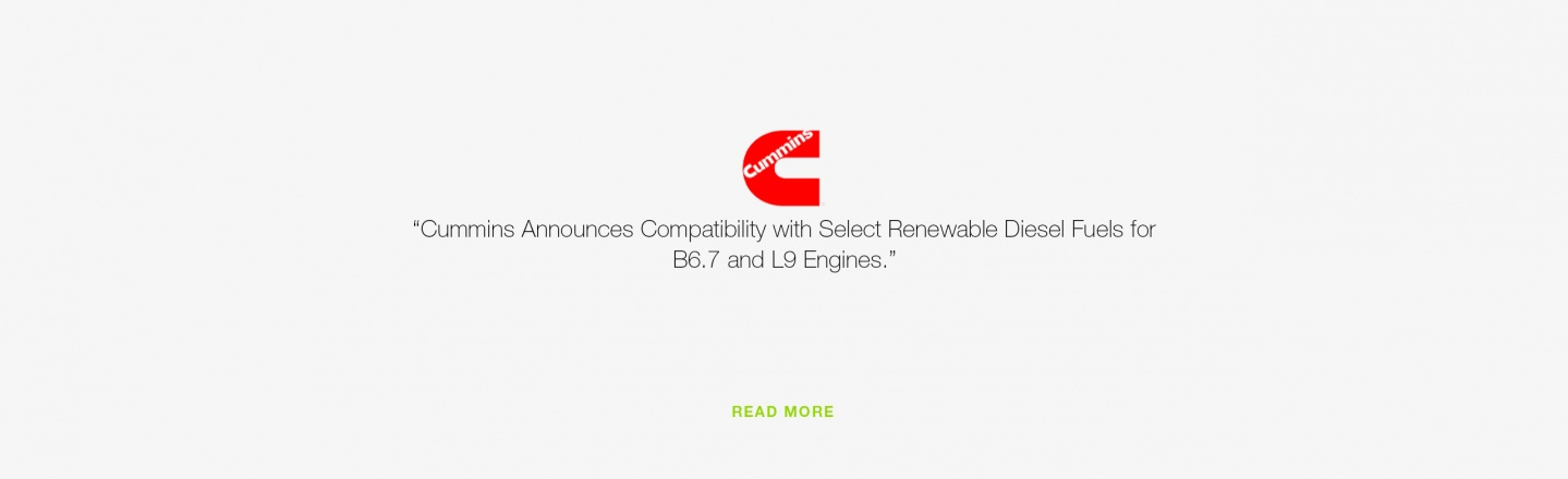 Cummins Announces Compatibility with Select Renewable Diesel Fuels for B6.7 and L9 Engines