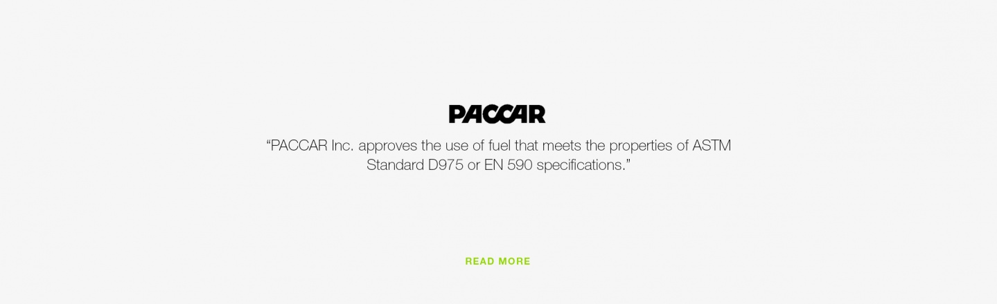 PACCAR Inc. approves the use of fuel that meets the properties of ASTM standard D975 or EN 590 specifications
