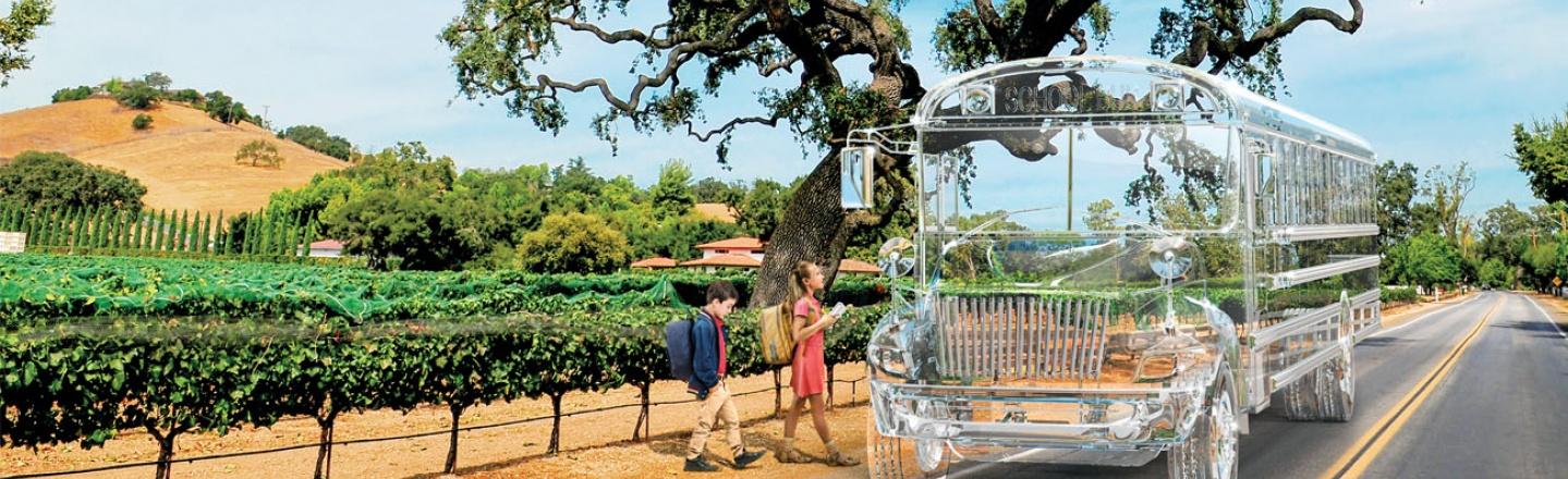 Transparent school bus picking up children