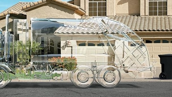 Transparent garbage truck
