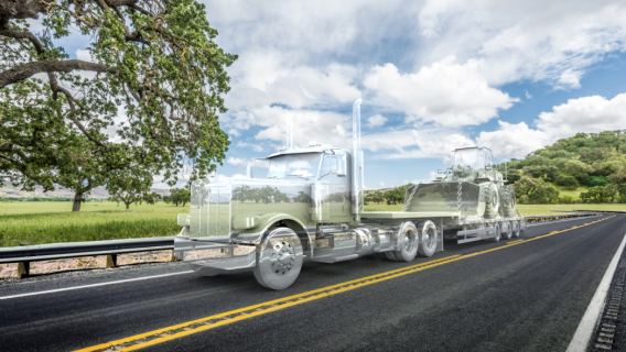 Transparent semi with loader on trailer
