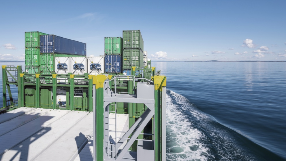 shipping vessel on calm sea using bunker fuel